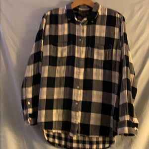 Madewell  flannel shirt navy and white plaid